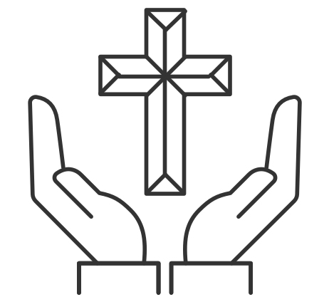 Illustration of hands cradling cross
