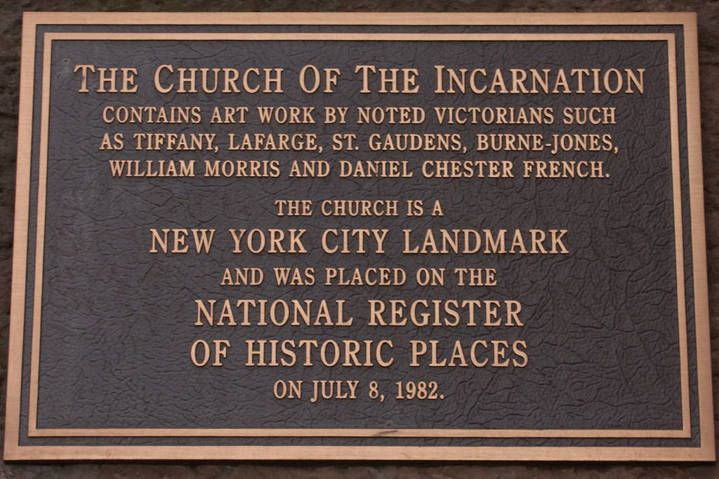 Church of the Incarnation Landmark Building plaque