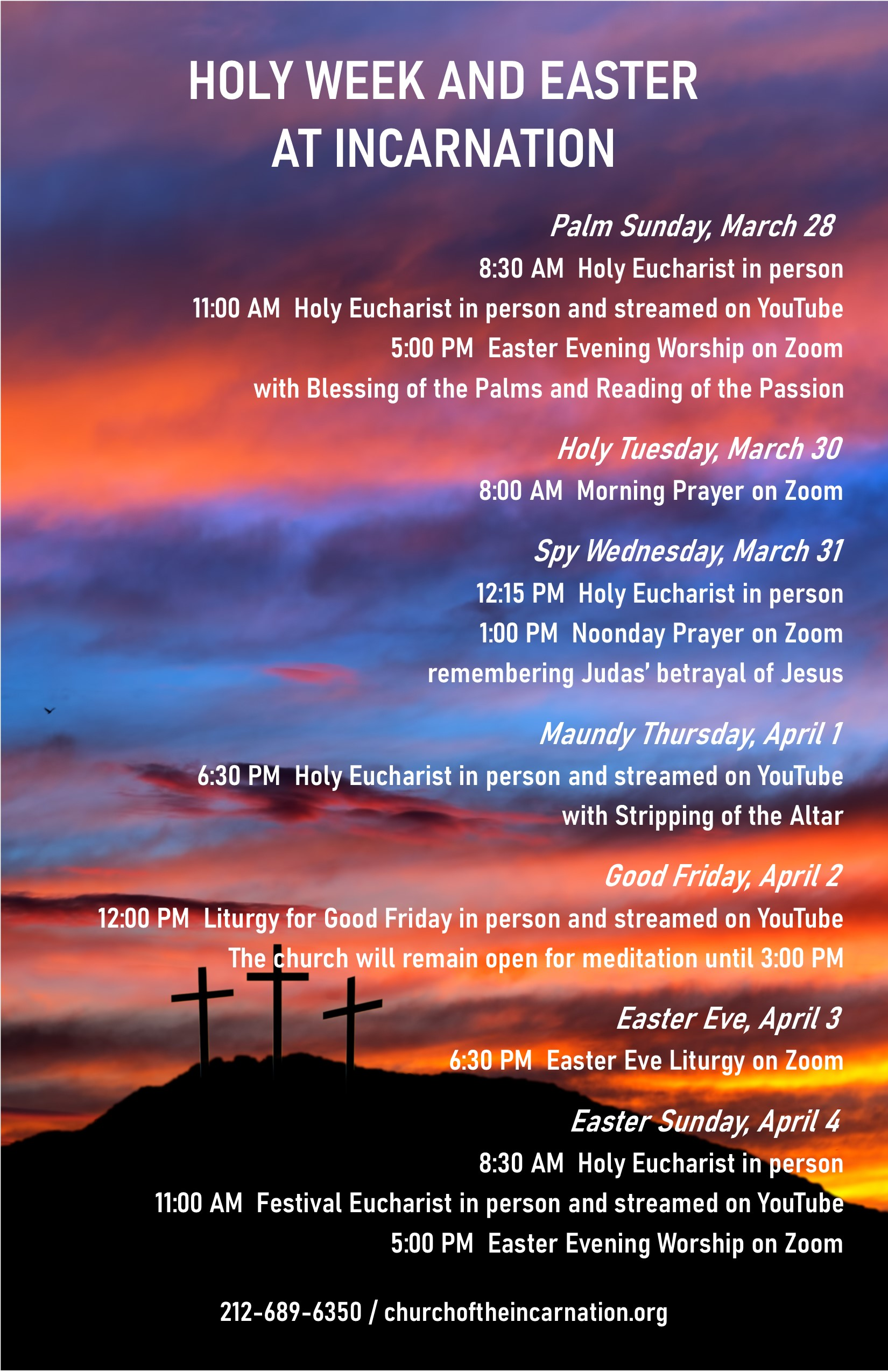 Holy Week and Easter at Incarnation flyer